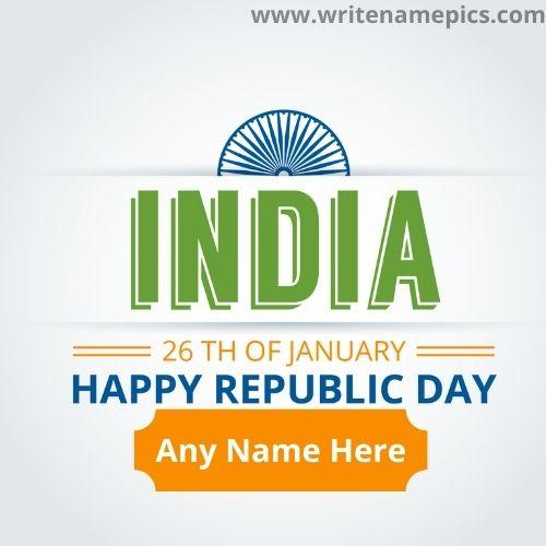 26th January Happy Republic Day Card with Name