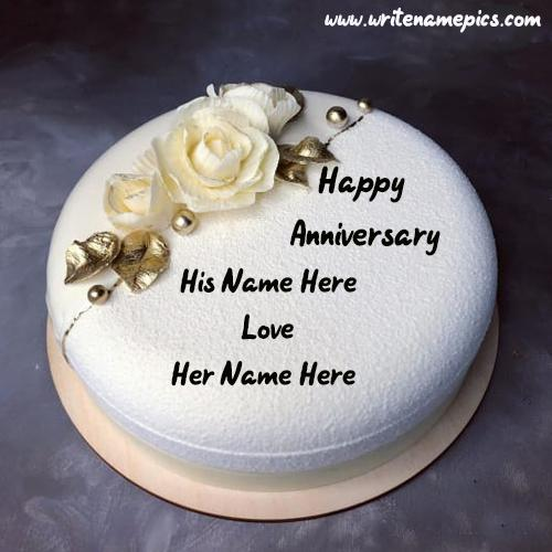 Anniversary Cake Greetings with Name Online Editor