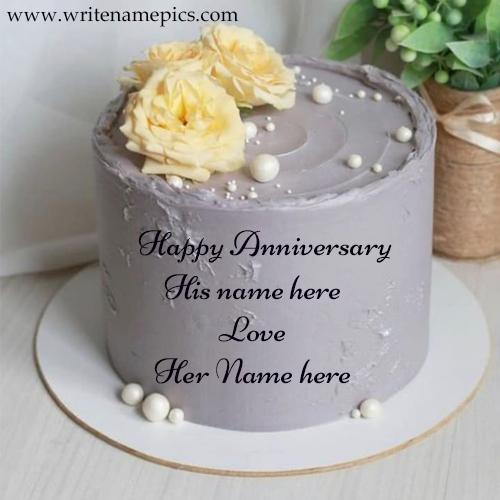 Anniversary Gray Colour Flower Aura Cake With Couple Name