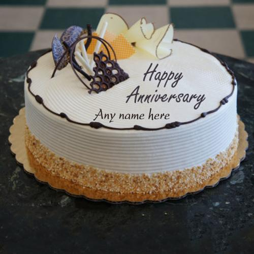 Awesome White and Orange Anniversary Cake
