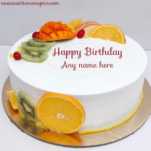 Beautiful Fruit Birthday Cake with Name Free Edit