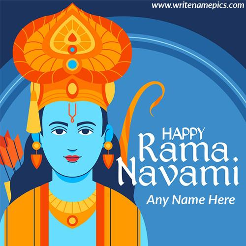 Beautiful Happy Ram Navami Greetings Card with Name
