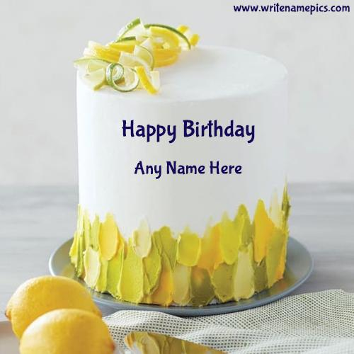 Beautiful Lemon Birthday Cake with Name