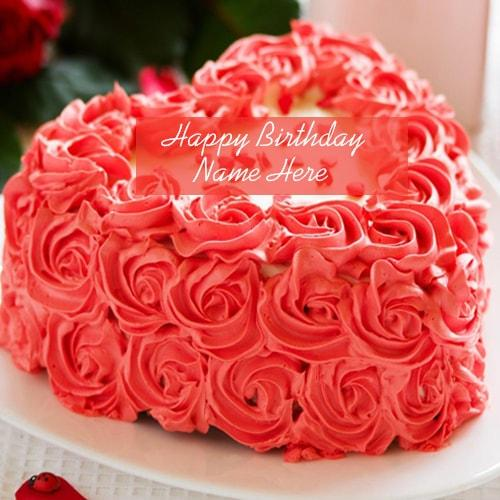 Beautiful Rose Birthday Cake Images with Name Edit