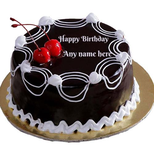 Beautiful black chocolate and cherry cake with name