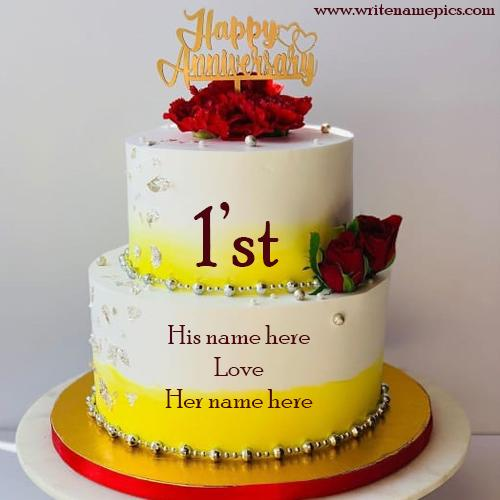 Best First Anniversary wishes Cake With Name Pic