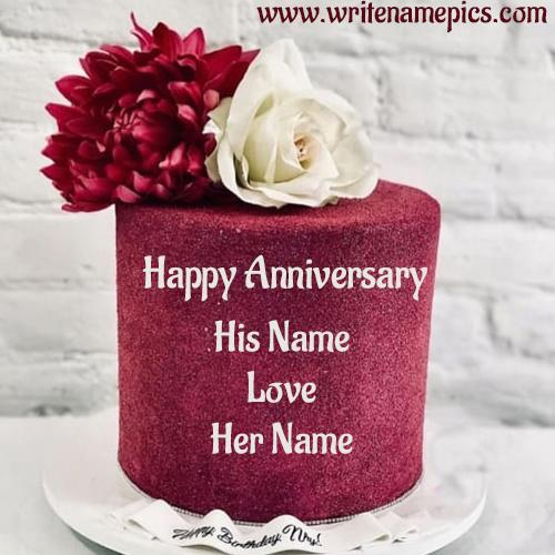 Best Happy Anniversary wishes Cake with Name editor
