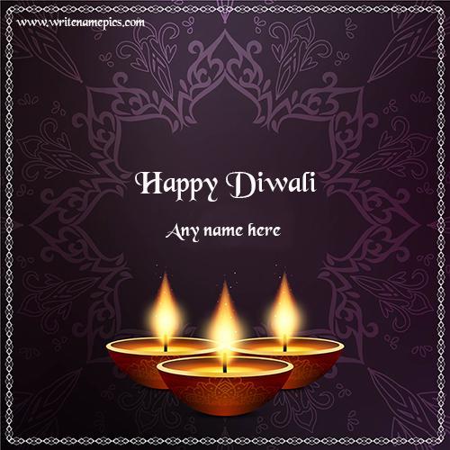 write name on happy diwali wishes greeting card
