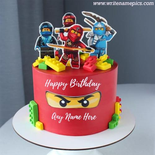Cartoon Birthday Cake With free Name Editor
