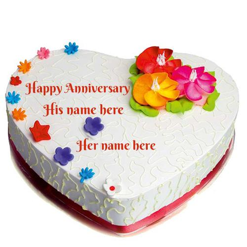 Colourful flower Happy Anniversary cake