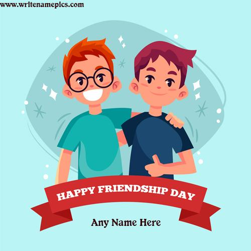 Create Happy Friendship Day card with name image
