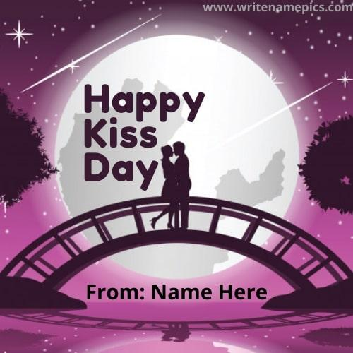 Create Happy Kiss Day Wishes Card with Your Name