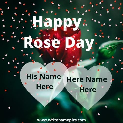 Create Online Happy Rose day card with name