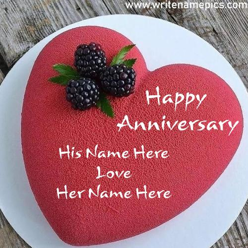 Customized Love heart Happy Anniversary Cake with Couple Name