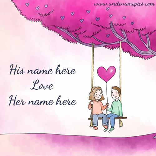 Cute love Couple Image with Couple Name Online Editor