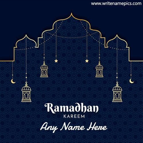 Free Ramadan Mubarak wish card with Name Pic