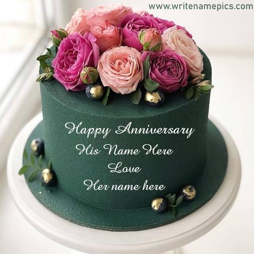 Green Colored Flowers Anniversary Cake with Couple Name