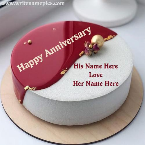 Happy Anniversary Cake Embellished With Name Edit