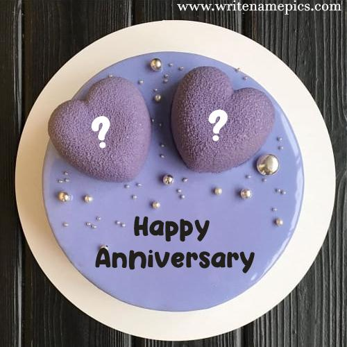 Happy Anniversary Cake with Couple Name Alphabet pic