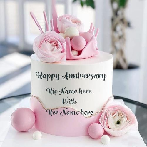 Happy Anniversary Cake with Couple Name Image
