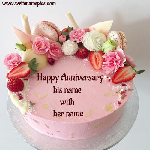 Happy Anniversary Cake with Name to your love one