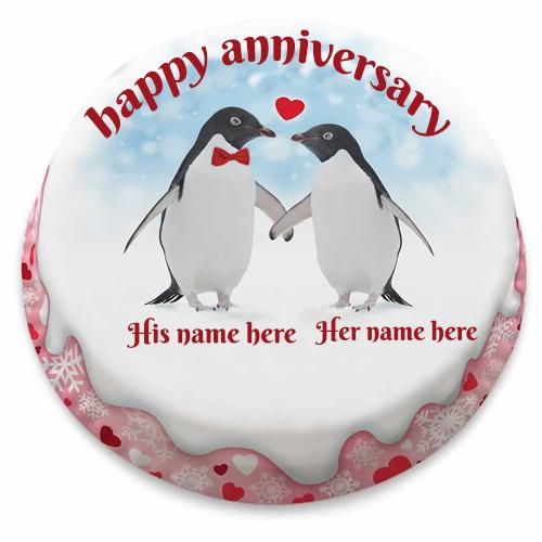 Happy Anniversary Couple Penguins Cake With Name