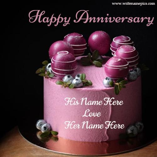 Happy Anniversary Purple Cake with Name