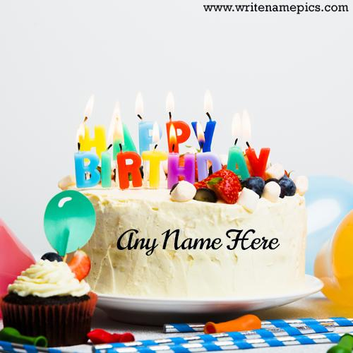 Happy Birthday Colorful cake with Name Editor online