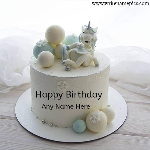 Happy Birthday greeting Cake with Name editor image