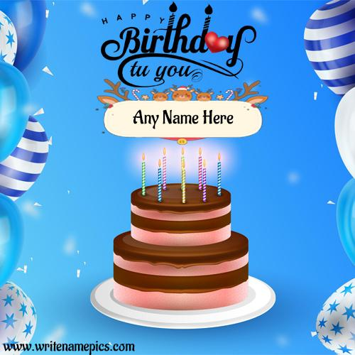Happy Birthday wishes card with Name Editor