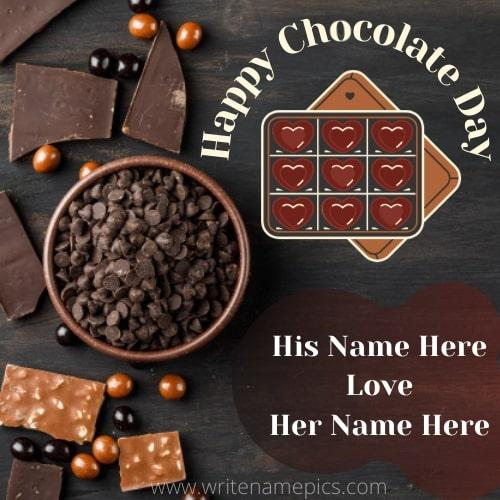 Happy Chocolate Day 2021 card with your Name