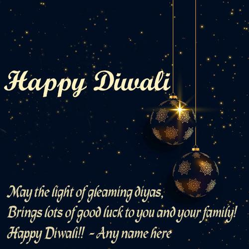 write name on happy diwali wishes greeting card