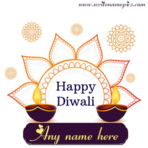 Happy Diwali Greetings card online free name Editor
