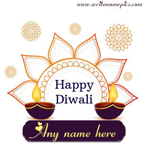 Happy Diwali Greetings card online free name Editor