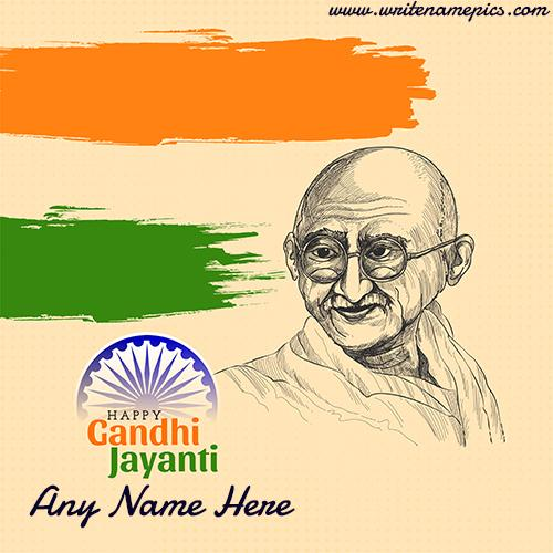 Happy Gandhi Jayanti Card with Name Edit