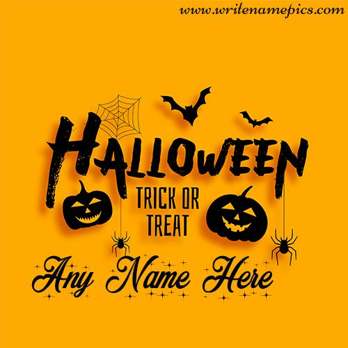 Happy Halloween day wish with name editor