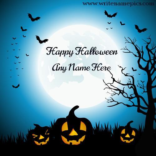 Happy Halloween wish with name editor