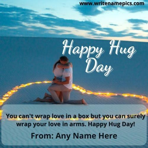 Happy Hug day 2021 wish Greeting card with name