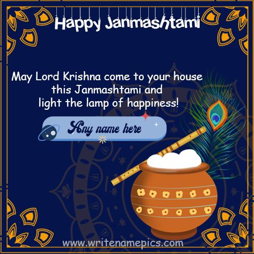 Happy Janmashtami wishes image with name editor free