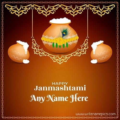 Happy Janmashtami wishing card with name editor