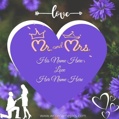 Happy Love Greetings Card with Name of the couple