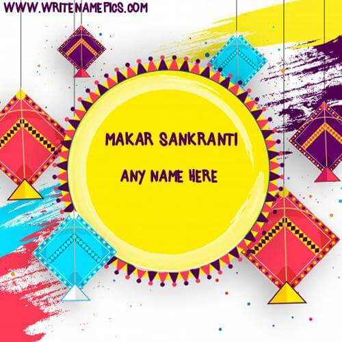 Happy Makar Sankranti card with Name Image