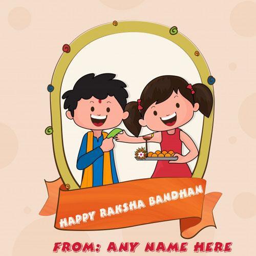 Happy Raksha Bandhan wishes cute kids greeting card with name
