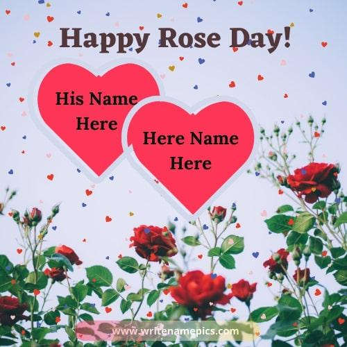 Happy Rose Day Greetings with Name Edit Option