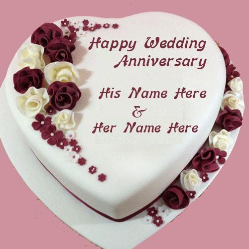 Happy Anniversary Cake With Couple Name Editor Photo