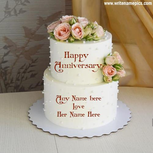 Happy anniversary cake greeting card with couple name