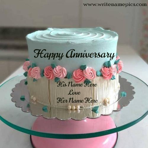 Happy anniversary double cream colour couple cake with name