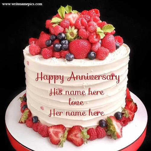 Happy anniversary love cake with couple name
