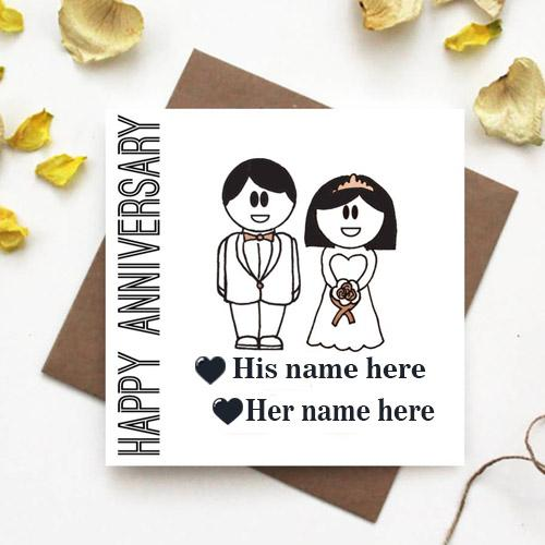 Happy anniversary wedding card with Couple Name Pic