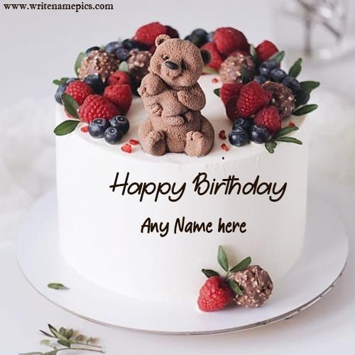 Happy birthday baby teddy cake with name